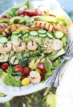 Grilled Cantaloupe and Vegetable Salad with Shrimp