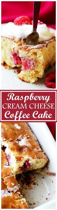 Raspberry Cream Cheese Coffee Cake - Lightened-up, quick and easy Raspberry Cream Cheese Coffee Cake studded with fresh raspberries and finished off with a fluffy cream cheese topping. Perfect Valentine's Day dessert!