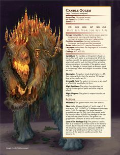 D: Maps, Exploration, Treasure, Adventure Candle Golems! Dnd Dragons, Dungeons And Dragons Homebrew, Dungeons And Dragons Characters, Dnd Characters, Fantasy Creatures, Mythical Creatures, Dnd Stats, Dnd 5e Homebrew, Dnd Monsters