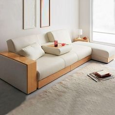 Minimalist Japan Wood Frame Sofa Bed With Ottoman - Shop @ ezbuy Singapore