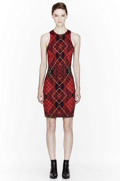 MCQ ALEXANDER MCQUEEN Red Tartan shift Dress