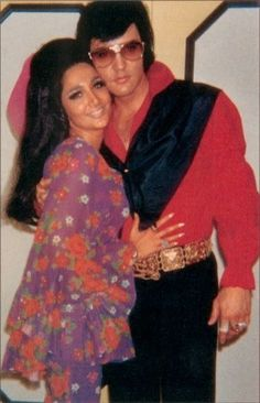 Elvis backstage with Joyce Bova, 1972 (Another relationship Elvis was involved in during his separation with Priscilla)