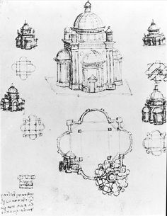 Studies for a building of a centralised plan, detail of fol. 3v from Codex Ashburnham I and II (formerly part of Manuscript B (2184)), c.1492 (pen & ink on paper) by Leonardo da Vinci from Bibliotheque Nationale de France