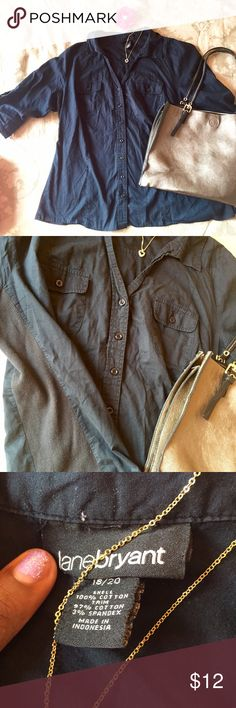 Lane Bryant casual button down Button down top with stretchy knit sides. Buttons on the sleeves so you have the option to cuff them. Gently used. Size 18/20 Lane Bryant Tops Button Down Shirts