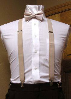 "Champagne X back 1"" Suspenders with Bow Tie from are Spencer J's Collection - Tuxedo Warehouse"