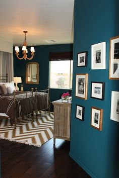 This blue has been one of my favorite wall colors since I saw it at a family members house. I especially love it with the dark floors. Caylan for new place