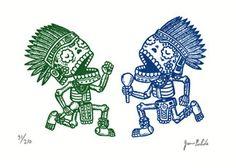 Aztec Calaveras Limited Edition Gocco Screenprint por MisNopalesArt