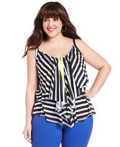 Belle Du Jour Plus Size Top, Sleeveless Striped Ruffled Zip Front - Junior Plus Sizes - Plus Sizes - Macy's