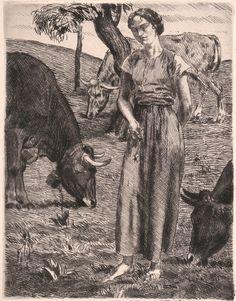 Die Hirtin - Etching - 1916 - Otto Richard Bossert #Realism #etching #DieHirtin #art #print