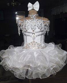 White lace beaded halter short sleeve bow organza ball gown cupcake toddler little girls pageant dresses flower girls for weddings glitz Pagent Dresses For Kids, Toddler Pageant Dresses, Glitz Pageant Dresses, Little Girl Pageant Dresses, Pageant Wear, Wedding Flower Girl Dresses, Flower Dresses, Pretty Dresses, Girls Dresses