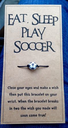 Perfect for a team gift! Can be customized with different string color. Soccer bead on hemp cord. Lightweight and comfortable Soccer Gifts, Team Gifts, Play Soccer, Soccer Party, Soccer Banquet, Soccer Room, Soccer Stuff, Best Football Players, Soccer Quotes