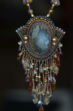 Collerette de perles broderie Collier perles art bijoux