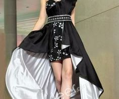 Black Scalloped One Shoulder High-low Beaded Prom Homecoming Dress