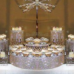 Crystal cake stands and displays Via:decoratemywedding Gemjunkiejewels