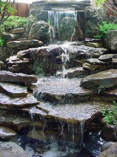 30 Natural and Beautiful Backyard Waterfalls Garden Ideas Backyard Water Feature, Ponds Backyard, Koi Ponds, Garden Ponds, Beautiful Landscapes, Beautiful Gardens, Outdoor Waterfalls, Pond Fountains, Outdoor Fountains