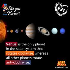 Hey Folks! Here we bring an another intersting fact to add up to your knowledge. #didyouknow #onlyplanet #interestingfacts #venus #solarsystem #knowledgefacts #toycart
