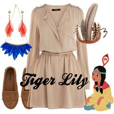 A fashion look from May 2013 featuring beige short dress, flat pumps and chain jewelry. Browse and shop related looks. Disneyland Outfits, Disney Bound Outfits, Disney Dresses, Tiger Lily Costume, Disney Inspired Fashion, Dapper Day, Mom Style, Peter Pan, Fashion Looks