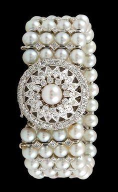 14kt. White Gold Diamond & Pearl Covere Circa 1970's 14kt White Gold 4 Row Pearl & Diamond Watch/Bracelet.d Watch Bracelet.