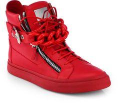 Giuseppe Zanotti Sneakers double chain   Giuseppe Zanotti Tonal Chain Sneakers in Red for Men - Lyst