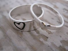 Sterling Silver Promise Rings, Couple Ring Set, Boyfriend Girlfriend Promise Rings, Matching Couple Ring, Stacking Rings, Heart Rings