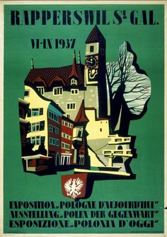 "Rapperswil Exposition ""Pologne d'Aujourd'ui"", 1937 Vintage Posters, Vintage Photos, Switzerland, Europe, Events, Retro, My Love, Holiday, Movie Posters"