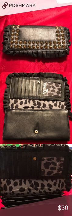 Betsey Johnson black studded wallet Used but in good condition, black, Betsey Johnson wallet with gold studs Betsey Johnson Bags Wallets