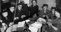 Social History, War and Conflict, World War Two, pic: circa 1940, Northampton, Northamptonshire, England, Elderly ladies at a Northampton knitting club, where they are making garments for the Merchant Navy Comforts Fund
