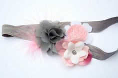 Pink and Grey Boutique Style Headband