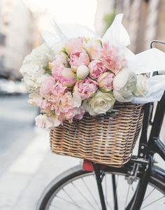 A bouquet of peonies, hydrangeas, sweet peas, tulips and roses are ready for a fragrant bicycle ride in Georgianna Lane's book, Paris in Bloom. Photo by Georgianna Lane