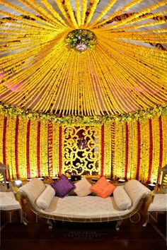 Wedding mandap and decor ideas for mehndi night/sangeet Indian Wedding Decorations, Festival Decorations, Reception Decorations, Event Decor, Flower Decorations, Indian Weddings, Wedding Mandap, Desi Wedding, Wedding Stage