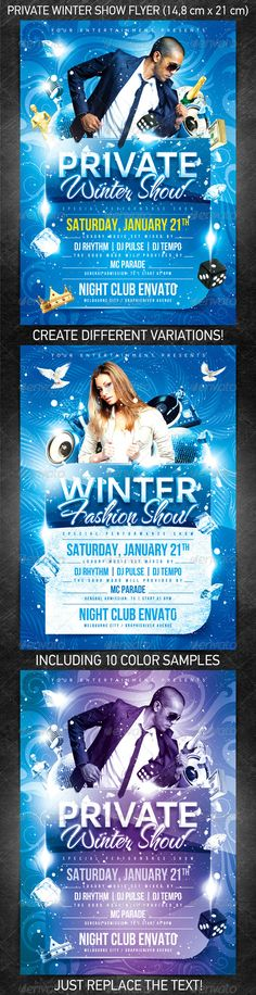 Private Winter Show Flyer for the New Year's or Christmas party/club event or any other night club event.  You can download this flyer PSD at the following link – http://graphicriver.net/item/private-winter-show-flyer/1107543?ref=4ustudio    More flyers and posters here: http://graphicriver.net/user/4ustudio?ref=4ustudio