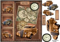 Male card Vintage car Worldmap on Craftsuprint designed by Marijke Kok - Great male card with a vintage car and a worldmap - Now available for download!