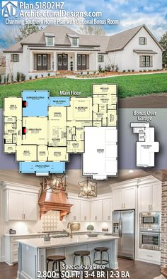 2800 Sq Ft House Plans Best Of Architectural Designs southern Home Plan Hz with 3 4 Craftsman Farmhouse, Farmhouse Floor Plans, Ranch Floor Plans, Home Floor Plans, Craftsman Floor Plans, Open Floor House Plans, Craftsman Homes, Farmhouse Kitchens, Floor Plan 4 Bedroom