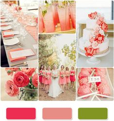 Coral, dusty rose, and moss green wedding inspiration.. those flowers (ranunculus?) and place settings are just darling!