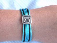 Turquoise Rattail Bracelet Blue Bracelet with Slider by Hermitinas