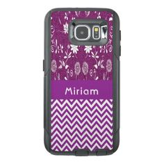 Purple chic chevron zigzag flowers girly glitter OtterBox samsung galaxy s6 case - trendy gifts cool gift ideas customize