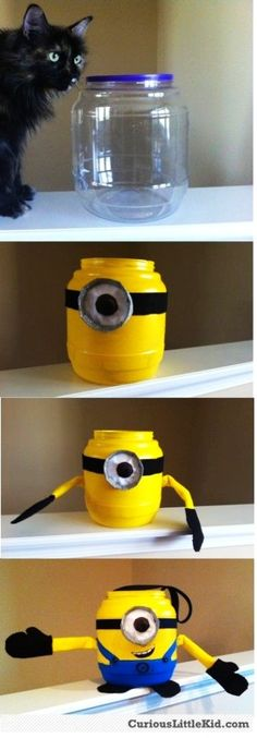 2015 Halloween minion bucket crafts tutorial for kids - homemade, decorations - LoveItSoMuch.com