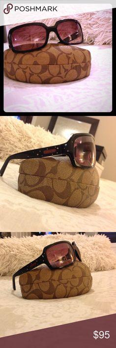 Coach sunglasses Coach black w/ purple/dark shades. Sunglasses are in perfect condition, comes with box. Coach Accessories Glasses