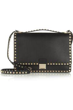 Valentino|The Rockstud Flap leather shoulder bag|NET-A-PORTER.COM