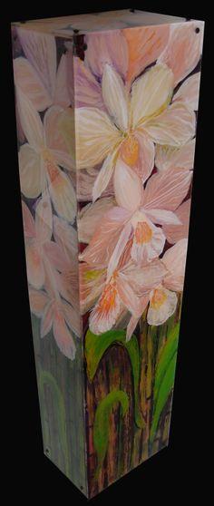 Boxed Orchids reverse acrylic on plexiglas by Anna Skaradzinska