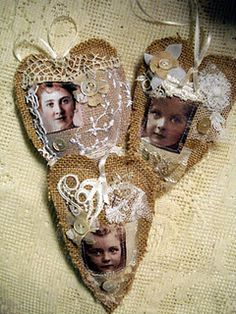 Burlap hearts with lace and buttons. (I can't find these exact hearts on the site, but she has TONs of beautiful things...it is worth going to the site just to see all the other stuff too.)