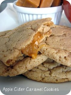 oooeygooeygoodness:  Apple Cider Caramel Cookies Ingredients:1 cup unsalted butter, nearly melted1 cup granulated sugar1/2 teaspoon salt1 (7...