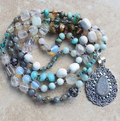 Boho Glam, Inspired Bohemian Beaded Necklace, Clear Skies, Agate Druzy