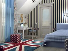 children's room interior in the football theme