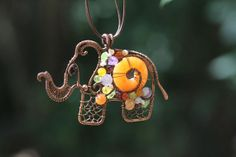 Elephant pendant wire wraped animal pendant  inspired by IrenAdler, $67.00