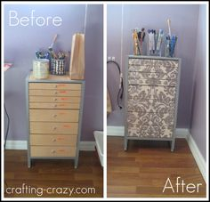 Tutorial for Mod Podging fabric to drawer fronts