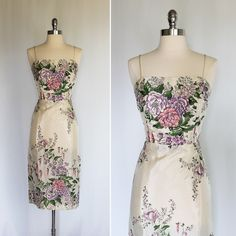 RESERVED Vintage 1950s LILLI DIAMOND Rhinestone Rose Garden Wiggle Party Dress by JazzyAlley on Etsy https://www.etsy.com/listing/204375387/reserved-vintage-1950s-lilli-diamond