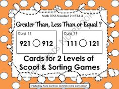 Common core- grade 2 This is good practice for number recognition and the number line. I also like how it has two levels so when they master one level, they can move up and challenge themselves.    TeachersNotebook.com -  (18 pages)  - Second Grade Greater Than, Less Than or Equal Scoot Game (2.NBT.A.4)
