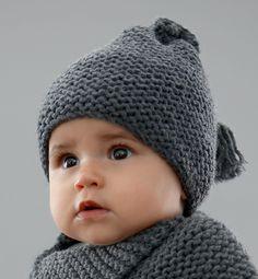 Modèle bonnet bébé au point mousse , Modèles Layette , Phildar