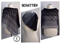 Schatten (Shadow) - free crochet (rectangular) poncho pattern in English or German with chart by Jasmin Räsänen.